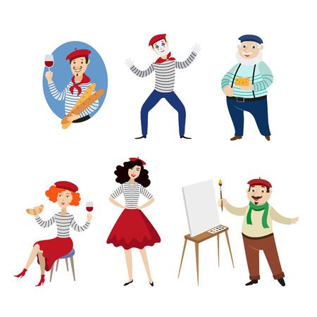 Divertidos personajes franceses, personas, alimentos y símbolos de la cultura de Francia, ilustración vectorial de dibujos animados plana aislado sobre fondo blanco. Franceses, mimos, artistas, comida - símbolos de Francia Ilustración de vector