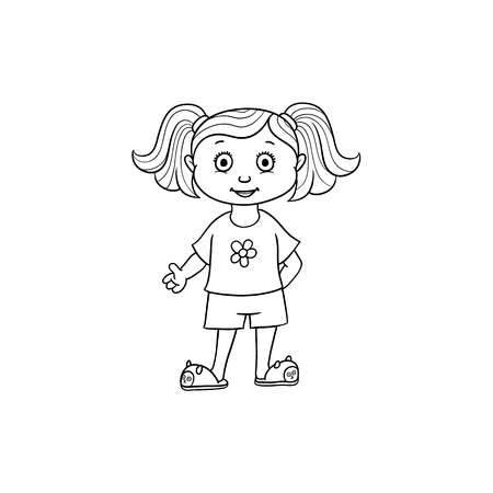 vector flat cartoon monochrome cute girl kid child with pigtails in funny clothing and cat-like slippers. isolated illustration on a white background for coloring book design