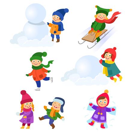 Kinder, Kinder, die Winteraktivitäten tun - spielen Schneebälle, machen Schneemann und Schneengel, Schlittschuh, Tobogan, die Karikaturvektorillustration, die auf weißem Hintergrund lokalisiert wird. Kind, Kinder Winteraktivitäten eingestellt Standard-Bild - 88369428