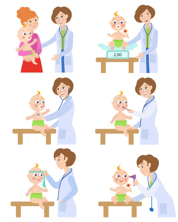 Female pediatrician, doctor doing medical exam, checkup for baby, infant, cartoon vector illustration isolated on white background. Baby, infant undergoing medical exam checkup by pediatrician Illusztráció