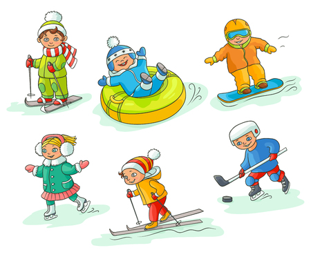 Kids having fun in winter - skiing, snowboarding, ice skating, playing hockey, sleighing, flat cartoon vector illustration isolated on white background. Hand drawn kids children - winter activities Illustration