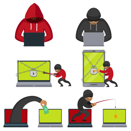 Hacker using laptop, stealing credit card information, money, fishing, breaking PIN code, flat style vector illustration isolated on white background. Computer hacker stealing, breaking, attacking