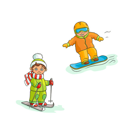 Two boys having fun in winter - skiing and snowboarding, flat cartoon vector illustration isolated on white background. Drawing of two boys, skiing and snowboarding, winter sport activities