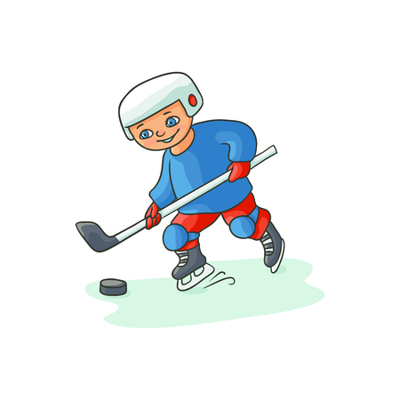 Happy little boy playing hockey in blue and red uniform, winter activity, flat cartoon vector illustration isolated on white background. Flat cartoon little boy playing hockey with puck and pole