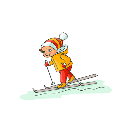 Happy little boy in warm clothes skiing downhill, winter sport activity, flat cartoon vector illustration isolated on white background. Drawing of little boy skiing, colorful flat cartoon illustration