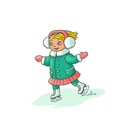Happy little girl in ear muffs ice skating, winter sport activity, flat cartoon vector illustration isolated on white background. Drawing of little girl ice skating, colorful flat cartoon illustration