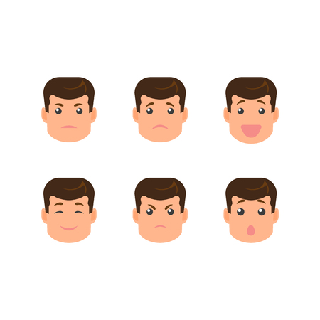 vecotr flat cartoon male young doctor character faces with different emotions creation set. Isolated illustration on a white background. Do-it-yourself elements for your design Ilustração