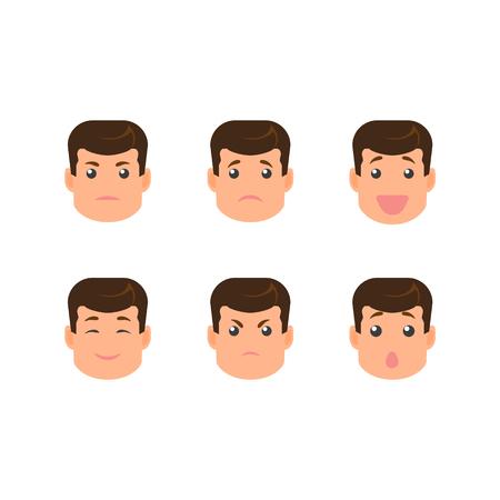 vecotr flat cartoon mannelijke jonge dokter karakter gezichten met verschillende emoties creatie set. Geïsoleerde illustratie op een witte achtergrond. Doe-het-zelf elementen voor uw ontwerp Stock Illustratie