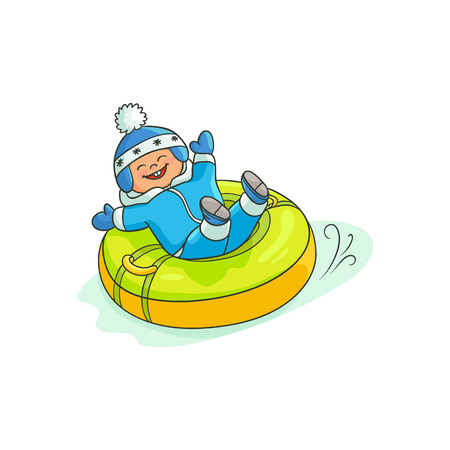 vector flat cartoon teen boy kid having fun riding inflatable rubber tube sled, tubing in winter outdoor clothing and funny hat laughing. Isolated illustration on a white background.