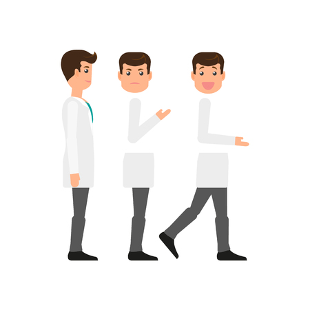 Male doctor character creation set - side view, standing and walking, happy and sad, flat vector illustration on white background. Side view doctor, man in white coat creation set