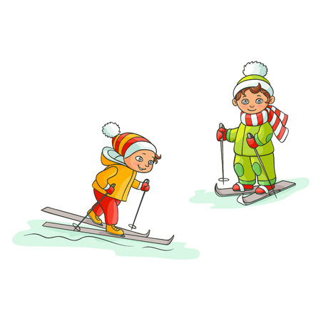 vector flat cartoon teen boys kid having fun skiing in winter outdoor clothing and funny hat and scarf. Isolated illustration on a white background. Illustration