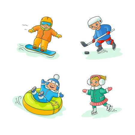 vector flat kids doing winter outdoor sport set. boy having fun riding inflatable rubber tube sled, girl ice skating, boys snowboarding and playing hockey. Isolated illustration on white background. Illustration