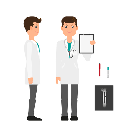 Male doctor, healthcare specialist in white medical gown, side and front view, flat vector illustration on white background. Doctor, man in white coat, front and side view full length portrait Çizim