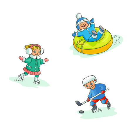 vector flat kids doing winter outdoor sport set. boy having fun riding inflatable rubber tube sled, girl ice skating, boy playing hockey. Isolated illustration on white background.
