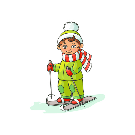 vector flat cartoon teen boy kid having fun skiing in winter outdoor clothing and funny hat and scarf. Isolated illustration on a white background.