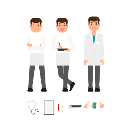 Male doctor in white medical gown creation set with different arm positions, gestures and tools, flat vector illustration on white background. Doctor man in white coat, front view portrait constructor