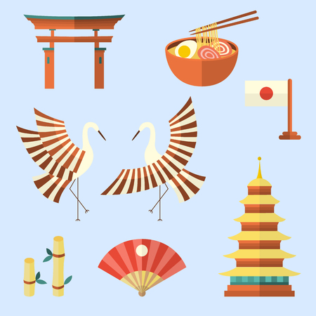 torii: Set of Japanese culture symbols - flag, pagoda, crane, bamboo, torii gates, egg noodle and paper fan, flat vector illustration isolated on white background. Set of flat Japanese culture symbols, icons