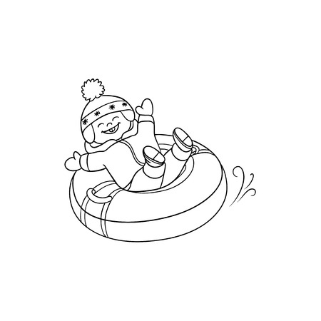 vector flat teen boy kid having fun riding inflatable rubber tube sled, tubing in winter outdoor clothing and funny hat laughing. Isolated illustration on a white background for coloring book design