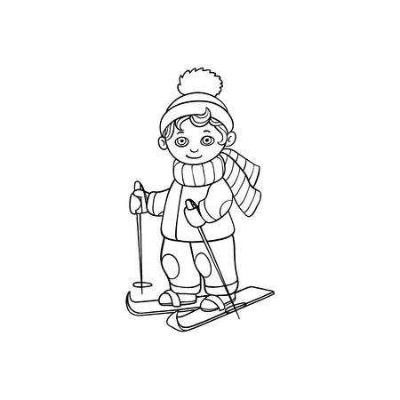 vector flat cartoon monochrome teen boy kid having fun skiing in winter outdoor clothing and funny hat and scarf. Isolated illustration on a white background for coloring book design.