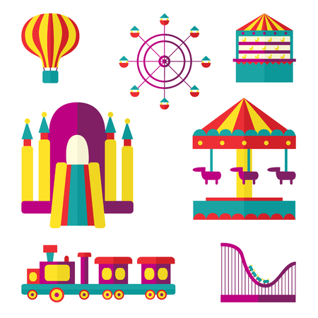 Amusement park set - Ferris wheel, carousel, rollercoaster, train, balloon, bouncy castle, shooting gallery, flat style vector illustration isolated on white background. Amusement park flat icon set Çizim