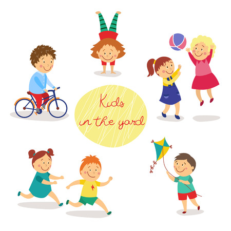 Kids, children in the yard playing tag and ball, flying kite, cycling, doing handstand, flat cartoon vector illustration isolated on white background. Kids, boys and girls, playing in yard, playground 向量圖像