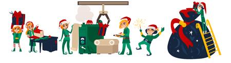 Reeks Kerstmiself die werken, die cadeaus in Santa-workshop, vlakke beeldverhaal vectorillustratie maken die op witte achtergrond wordt geïsoleerd. Kerstmanhelpers, elfjes die kerstcadeautjes maken in de werkplaats