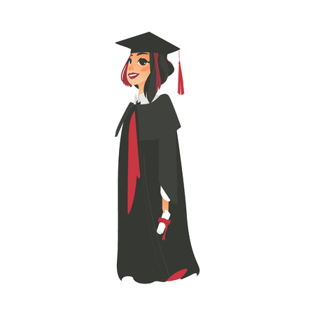 vector flat cartoon female college, university happy graduate character, brunette girl in graduation gown, cap holding diploma smiling. Isolated illustration on a white background.