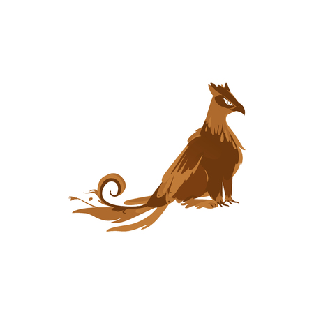 vector flat cartoon griffin mythical animal - fairy falcon, eagle bird like brown creature with rich plumage and animal paws. Isolated illustration on a white background.