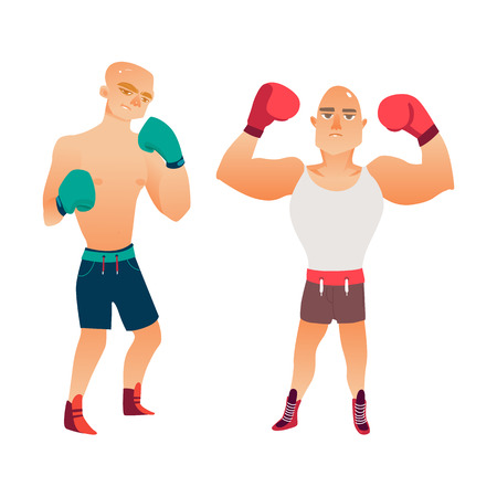 vector cartoon stylized brutal thin man bare torso in boxing stand in box gloves ready to fight, another muscular handsome boy raising hands like winner in tank top set. Isolated illustration Illustration