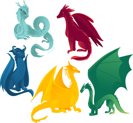 vector flat cartoon colored blue, red yellow and green majestic mythical dragons set. Isolated illustration on a white background. Иллюстрация