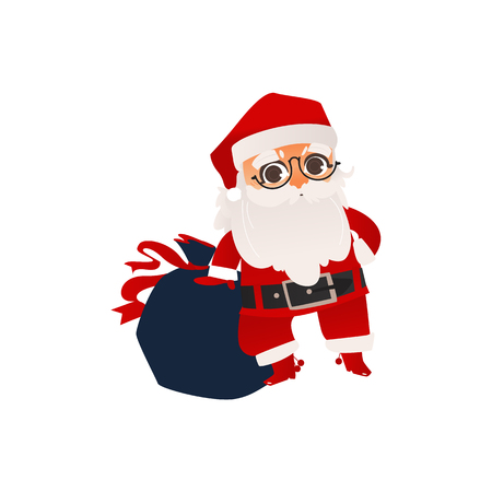 vector flat cartoon santa claus in christmas stockings and hat , holding big bag with presents boxes. Holiday illustration isolated on a white background Illustration