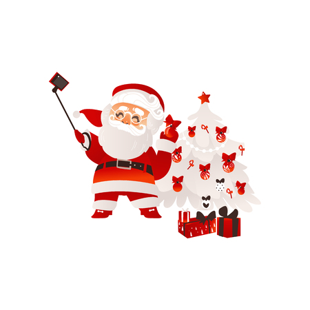 vector flat santa claus in christmas clothing making selfie by stick with present box pile set. Holiday illustration isolated on a white background.