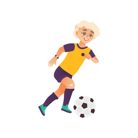 vector cartoon stylized young teen boy playing football. Male man athlete insport clothing, boots and watches smiling. Isolated illustration on a white background.