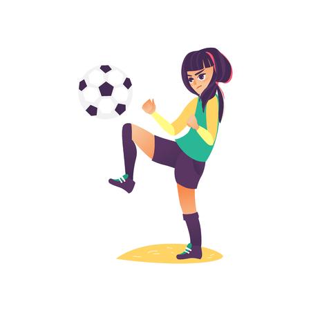 벡터 만화 양식에 일치시키는 축구 공을 연습을 만드는 심각한 어린 십 대 소녀. 스포츠 여성 의류, 부츠에 여자 선수입니다. 흰색 배경에 고립 된 그림
