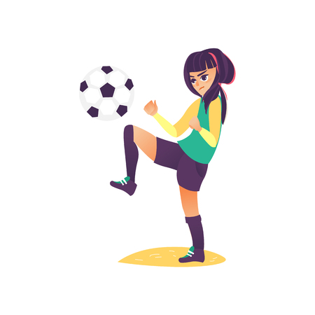 vector cartoon stylized serious young teen girl making exercises with football ball. Female woman athlete in sport sport clothing, boots. Isolated illustration on a white background.
