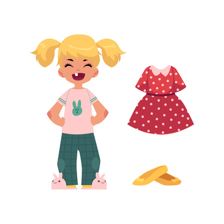vector flat cartoon cute toothless girl kid child in funny clothing, hare-like slippers and outfit apparel set - dress, shoes. Isolated illustration on a white background.