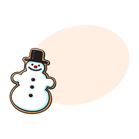 Glazed snowman-shaped homemade Christmas gingerbread cookie, sketch style vector illustration isolated on white background with speech bubble