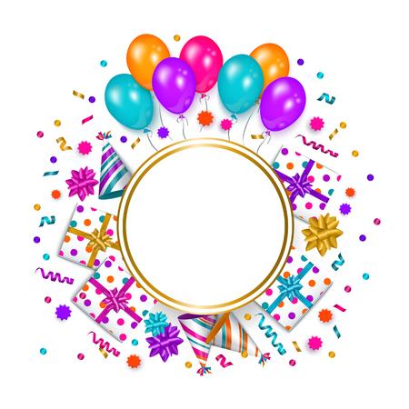 Bandera cuadrada, cartel, marco de tarjeta de felicitación - objeto de la fiesta de cumpleaños con el espacio redondo vacío para el texto, ilustración vectorial aislado sobre fondo blanco. Tarjeta de felicitación de cumpleaños, banner con espacio para texto Ilustración de vector