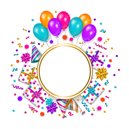 Square banner, poster, greeting card frame - birthday party object with empty round space for text, vector illustration isolated on white background. Birthday greeting card, banner with space for text