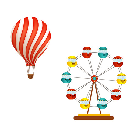 Hot air balloon ride and Ferris wheel in amusement park, flat icon, vector illustration isolated on white background. Flat hot air balloon ride and big, observation, Ferris wheel in amusement park