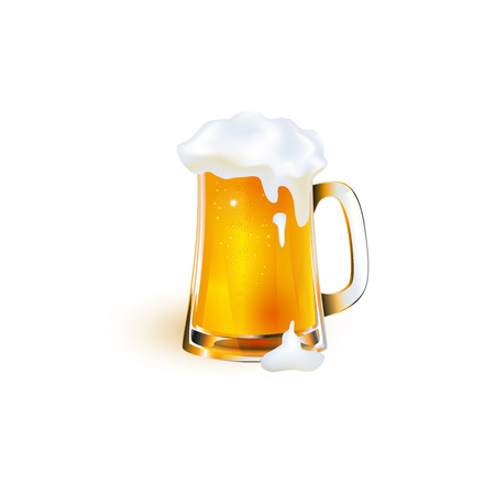 vector realistic full mug of golden lager cool beer with thick white foam mockup closeup. Ready for your design product packaging. Isolated illustration on a white background.
