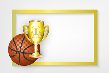vector flat basketball ball, golden cup winner trophy sport equipment object banner, poster with gold frame with free space for your text. Isolated illustration on a white background
