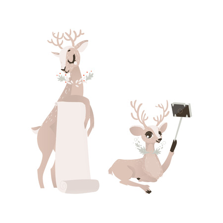 vector flat cartoon cute christmas reindeer holding blank paper scroll and deer making selfie by selfie stick set. Winter holiday animal simbol full lenght. Isolated illustration on a white background