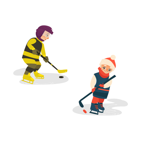 vector cartoon stylized teen boys kid playing ice hockey standing in protective striped yellow clothing, helmet ice skating with hockey stick. Isolated illustration on a white background. Illustration