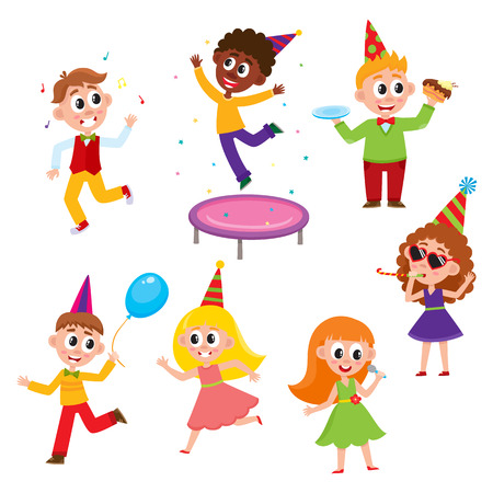 vector flat cartoon kids at party set. Boys eat piece of cake, jumping at trampoline, dancing with air balloon, girls singing at microphone, dancing and whistling in party hat. Isolated illustration.