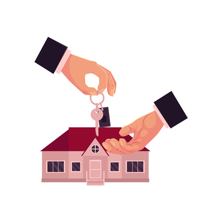 Male hands, one giving, another taking a house key, home, real estate property purchase, rent, sale concept, cartoon vector illustration on white background. Male hands giving and taking house key Ilustrace
