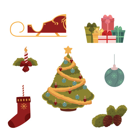 Set of Christmas icons decorated Xmas tree, stocking, present box, sleigh and decoration elements, cartoon vector illustration isolated on white background. Cartoon set of Christmas decorations