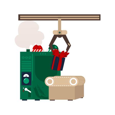 休日のプレゼント ボックス、おもちゃとフラット クリスマス コンベア機械ロボットをベクトルします。妖精の休日ギフト工場記号です。白い背景