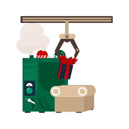 vector flat christmas conveyor machine robot with holiday present boxes, toys . Fairy holiday gift factory symbol . Isolated illustration on white background Illustration