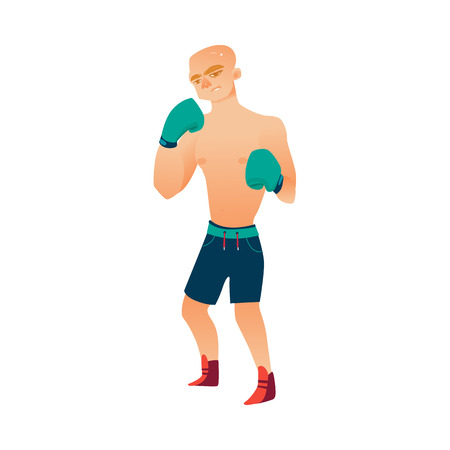 vector cartoon stylized brutal thin, ordinary man bare torso and chest in boxing stand with green box gloves ready to fight in blue shorts. Isolated illustration on a white background. Illustration